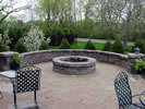 Brussels Dimensional Limestone Seat Wall Pillar and Fire pit